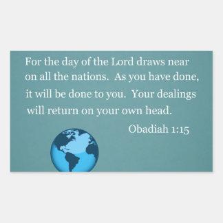 Obadiah 1:15 rectangle sticker