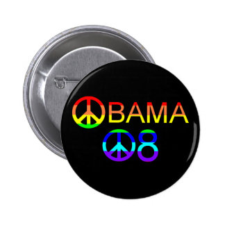 Obama 08 Rainbow Peace Sign Buttons