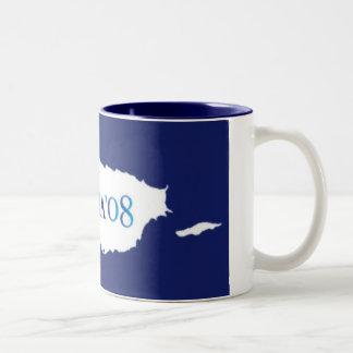Obama '08 Watercolor Two-Tone Coffee Mug