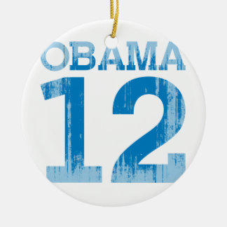 OBAMA 12 Vintage.png Double-Sided Ceramic Round Christmas Ornament