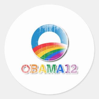 Obama 12 - Vintage.png Pegatina Redonda