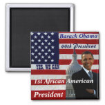 Obama, 1r afroamericano President_Magnet Imán Cuadrado