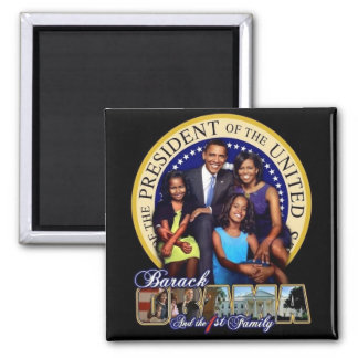 OBAMA-1ST FAMILY-Square Magnet