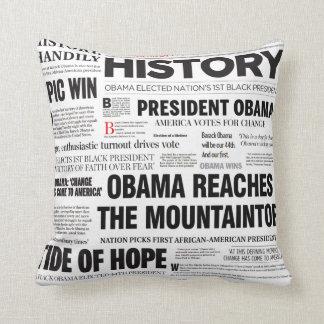 Obama 2008/2012 Newspaper Headline Collage Pillow