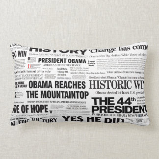 Obama 2008/2012 Newspaper Headline Lumbar Pillow