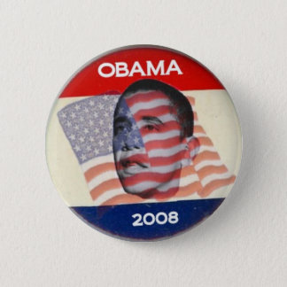 Obama 2008 Flag Pinback Button