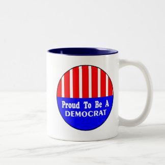 OBAMA, 2008, Proud to be a Democrat Two-Tone Coffee Mug
