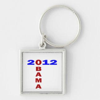 Obama 2010, formación de T, azul y rojo Llavero Cuadrado Plateado