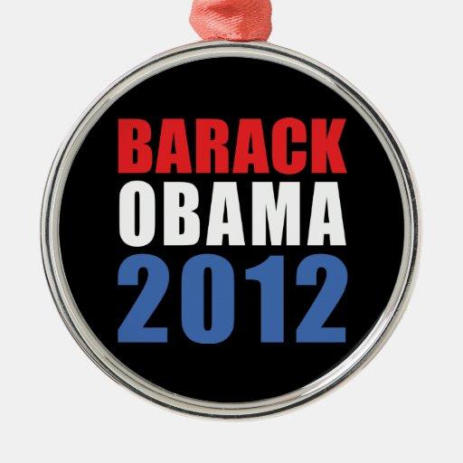 Obama 2012 adorno redondo plateado