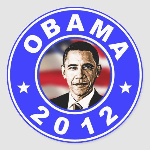 Obama 2012 - Azul Pegatinas Redondas