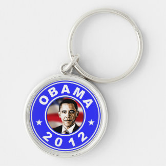 Obama 2012 - Blue Silver-Colored Round Keychain