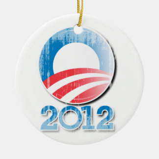 Obama 2012 Button Vintage.png Double-Sided Ceramic Round Christmas Ornament