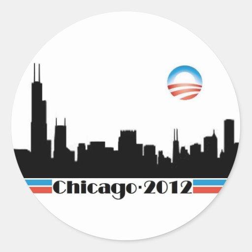 Obama 2012 - Chicago Skyline Sticker