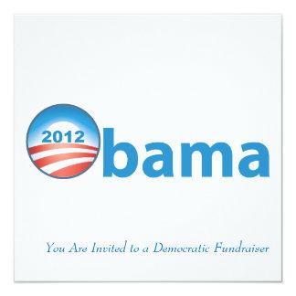 """Obama 2012 con el logotipo de Obama Invitación 5.25"""" X 5.25"""""""