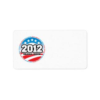 Obama 2012 etiqueta de dirección
