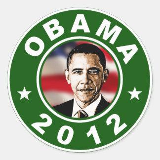 Obama 2012 Green Classic Round Sticker