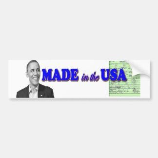 Obama 2012 hizo en los E.E.U.U. Pegatina Para Auto