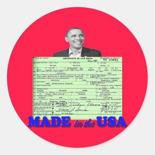 Obama 2012 hizo en los E.E.U.U. Pegatinas Redondas