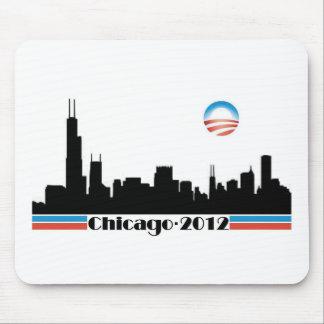 Obama 2012 - Horizonte de Chicago Alfombrillas De Ratón
