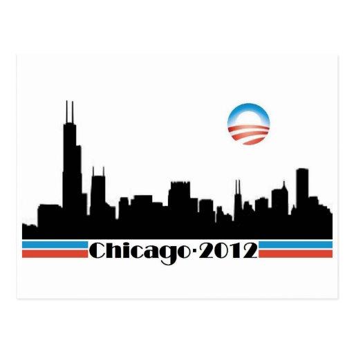 Obama 2012 - Horizonte de Chicago Tarjetas Postales
