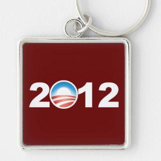 Obama 2012 llavero cuadrado plateado
