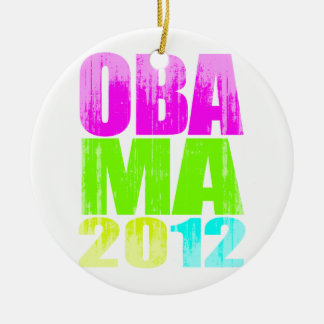 OBAMA 2012 NEON Vintage.png Double-Sided Ceramic Round Christmas Ornament