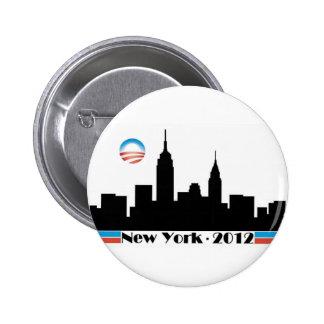 Obama 2012 New York City Skyline Pinback Buttons