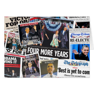 Obama 2012 Newspaper Collage Card