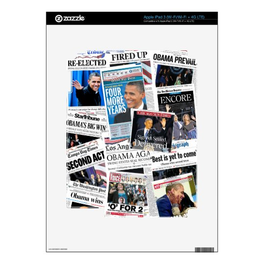 Obama 2012 Newspaper Collage iPad Skin