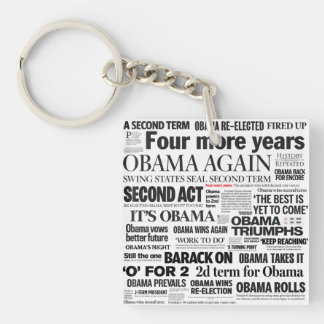 Obama 2012 Newspaper Headline 2-Sided Keychain