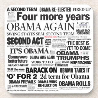 Obama 2012 Newspaper Headline Collage Coaster