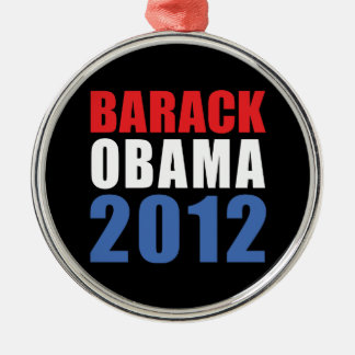 Obama 2012 round metal christmas ornament