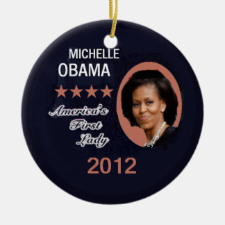 Obama 2012 Double-Sided ceramic round christmas ornament