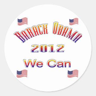 Obama 2012 podemos rojo pegatinas redondas