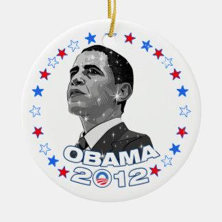 Obama 2012-Portrait & Stars Ceramic Ornament