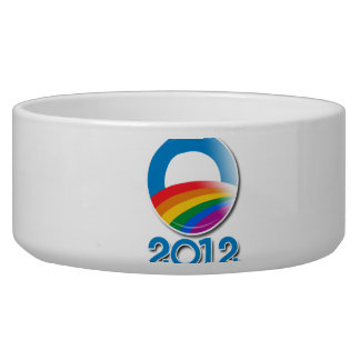 Obama 2012 Pride Button Dog Food Bowl