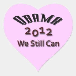 Obama 2012 que todavía podemos ennegrecernos calcomanía corazón personalizadas