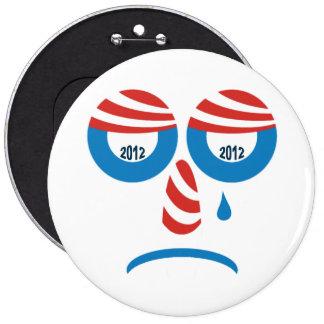 Obama 2012 Sad Face 6 Inch Round Button