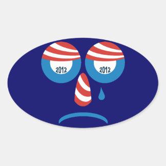 Obama 2012 Sad Face Oval Sticker