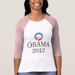 Obama 2012 señoras 3/4 raglán de la manga camisetas