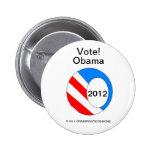OBAMA 2012 su botón de solicitación de votos Pins