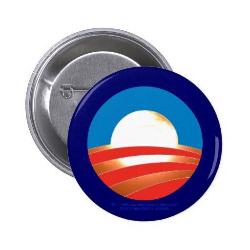 Obama 2012 Sunrise Logo on Real Sun Background Pinback Buttons