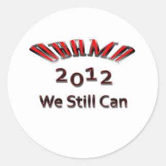 Obama 2012 todavía podemos rojo etiquetas redondas
