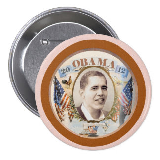 Obama 2012 Twin Flags Design 3 Inch Round Button