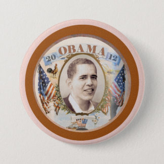 Obama 2012 Twin Flags Design Pinback Button