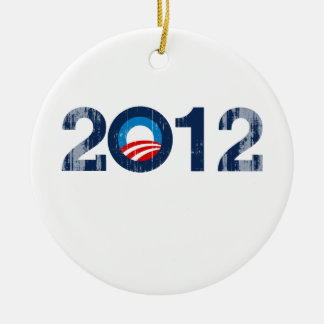 OBAMA 2012 - Vintage.png Double-Sided Ceramic Round Christmas Ornament