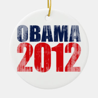OBAMA 2012 Vintage.png Double-Sided Ceramic Round Christmas Ornament