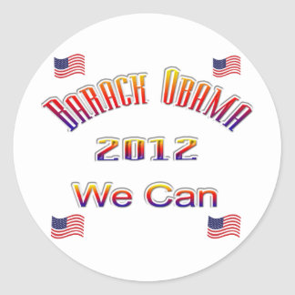 Obama 2012 We Can red Classic Round Sticker