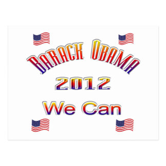 Obama 2012 We Can red Postcard