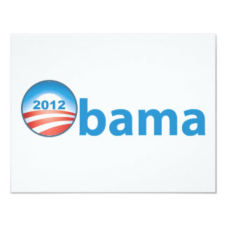 Obama 2012 With Obama Logo 4.25x5.5 Paper Invitation Card